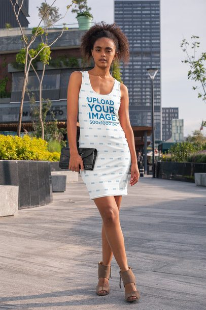 Racerback Dress Mockup Featuring a Trendy Woman Walking in the City 28777