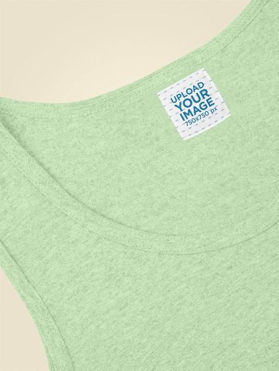 Clothing Label Mockup of a Heathered Tank Top Lying on a Plain Backdrop 28972