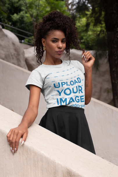 Heather T-Shirt Mockup of a Classy Woman at a Park 28632