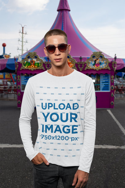 Mockup of a Man Wearing a Long Sleeve Tee at a Carnival 29040a