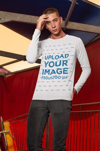 Long Sleeve T-Shirt Mockup of a Man Posing Inside a Big Top 29043