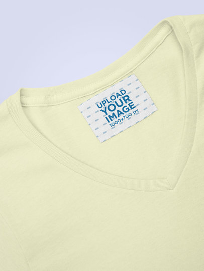 Mockup Featuring a Clothing Label on a V-Neck T-Shirt 28975