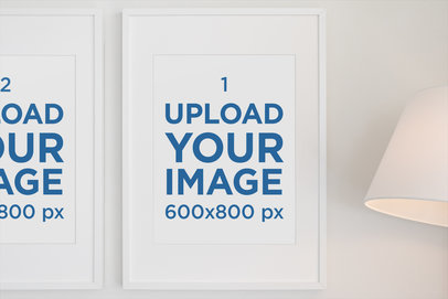 Mockup Featuring Two Art Prints Hanging Next to a Lamp 556-el