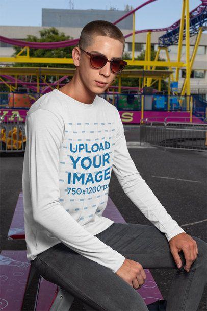 Long-Sleeve T-Shirt Mockup of a Man With Sunglasses at a Fair 29038