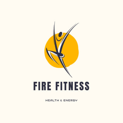 Fitness Logo Template with an Abstract Energetic Human Illustration 2457a