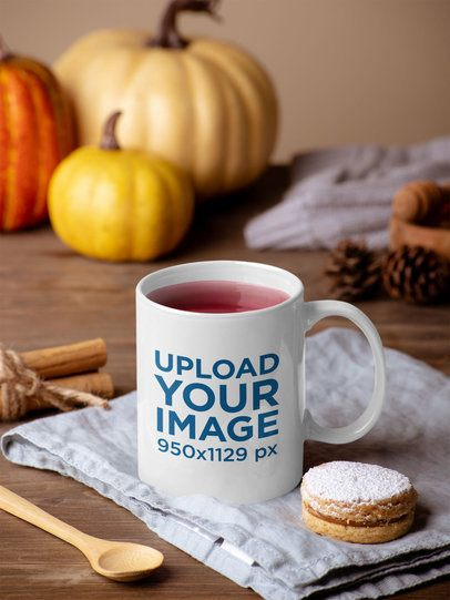 Thanksgiving-Themed Mockup of an 11 oz Coffee Mug 29143