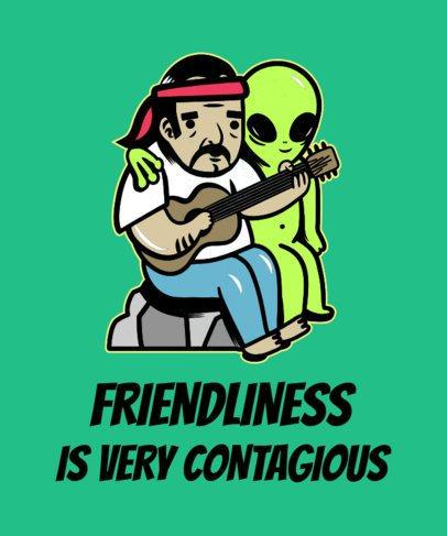 T-Shirt Design Template of Two Bizarre Friends 1716b