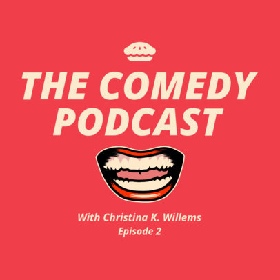 Comedy Podcast Cover Maker Featuring a Laughing Mouth Illustration 1719b