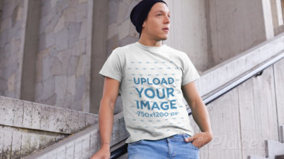 T-Shirt Video Featuring a Young Man Posing on a Concrete Stairway 13027