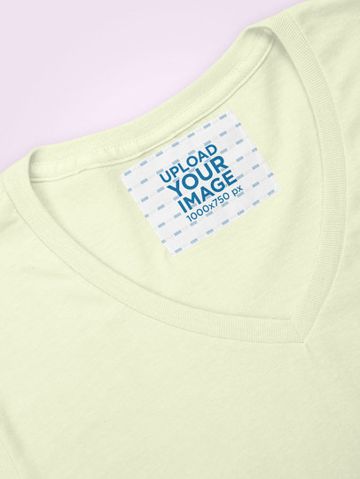 Inside Clothing Label Mockup on a V-Neck Tee 28982
