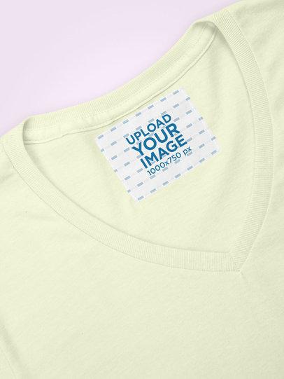 Inside Clothing Label Mockup on a V-Neck Tee 28982