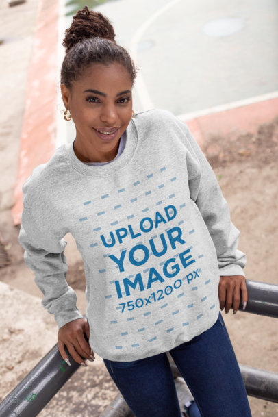 Crewneck Sweatshirt Mockup of a Woman Leaning on a Handrail 28644