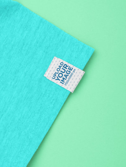 Clothing Label Mockup Featuring the Sleeve of a Heather T-Shirt 29025