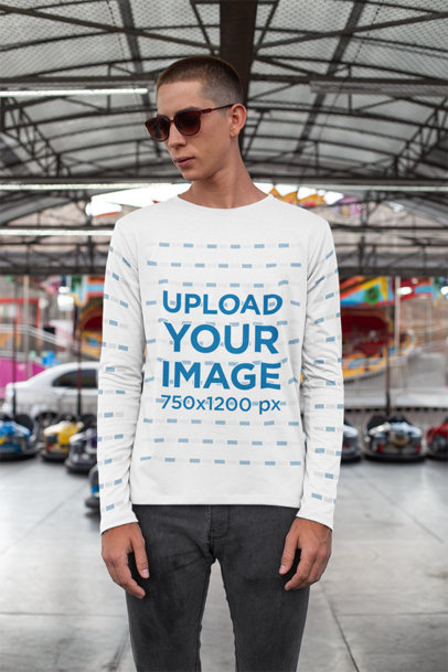 Long Sleeve T-Shirt Mockup of a Man in a Bumper Cars Area 29039
