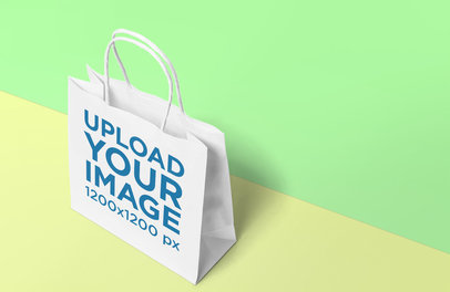 Gift Bag Mockup Featuring a Two-Color Background 651-el