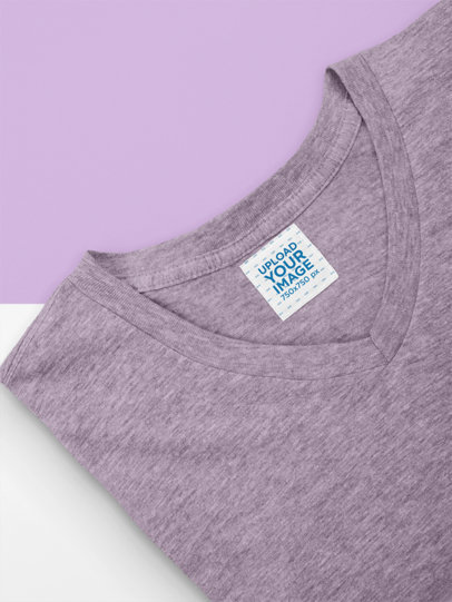 Mockup of a Customizable Inside Clothing Label on a V-Neck Tee 28986