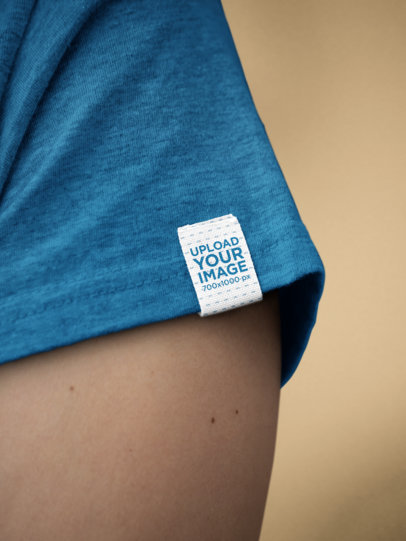 Mockup of a Clothing Label on the Sleeve of a Heathered T-Shirt 28980