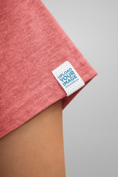 Clothing Label Mockup of a Woman Wearing a Heathered T-Shirt 28991