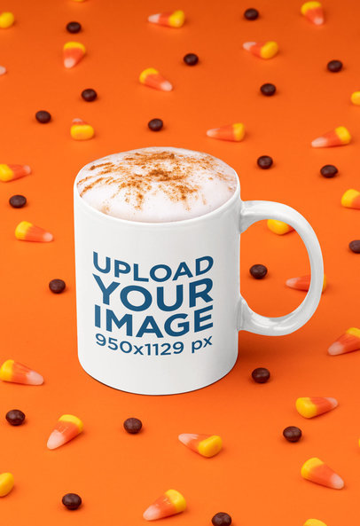 11 oz Coffee Mug Mockup Surrounded by Halloween Candies 29148