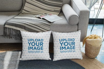 Mockup of Two Pillows on a Modern Living Room 29004