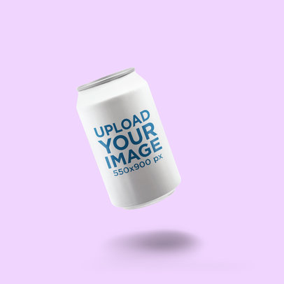 Mockup of a Soda Can Floating Against a Solid Color Backdrop 663-el
