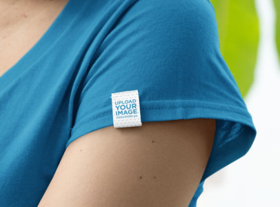 Side Clothing Label Mockup on a Customizable T-Shirt 28979