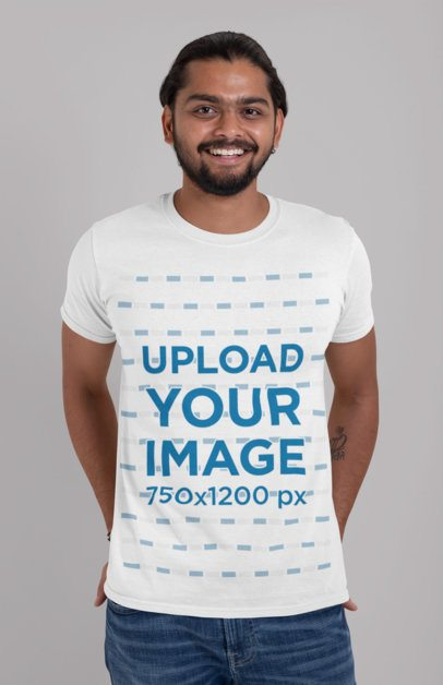 Crewneck T-Shirt Mockup of a Smiling Man at a Studio 29093