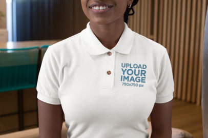 Mockup of a Woman Wearing a Polo Shirt with an Embroidered Design 28874