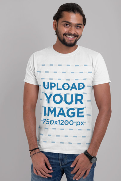T-Shirt Mockup of a Man Posing Against a Customizable Background 29098