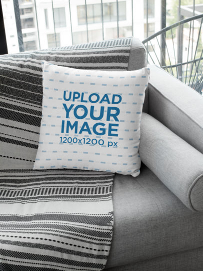 Square Pillow Mockup Featuring a Grey Fabric Couch 29003