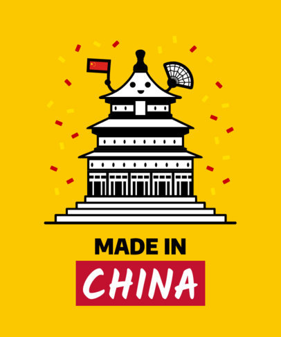 Patriotic T-Shirt Design Maker with a Cartoonish China's Temple of Heaven 1407f 1626