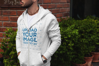 Mockup of a Man with an Ear Piercing Wearing a Heathered Ful-Zip Hoodie 447-el