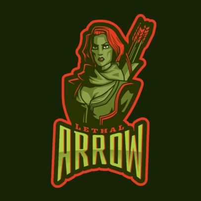 MOBA Inspired Logo Maker with a Female Archer Clipart 2499n