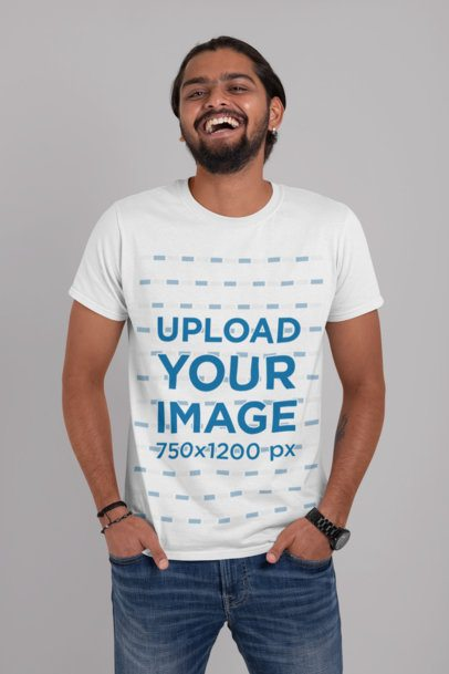 T-Shirt Mockup of a Bearded Man Laughing at a Studio 29105