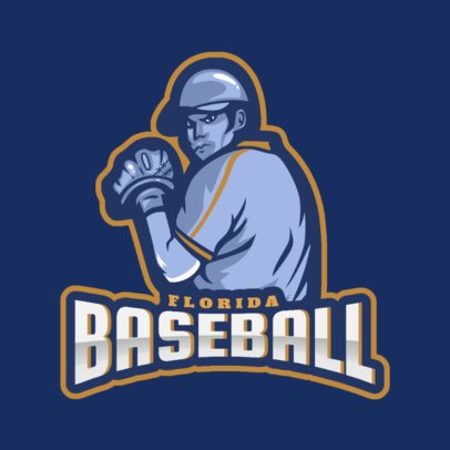 Baseball Team Logo Template with a Pitcher Illustration 172d 2469