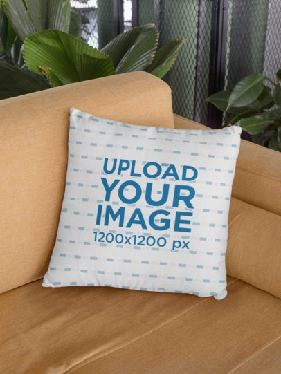 Square Pillow Mockup Placed over a Sofa 29007