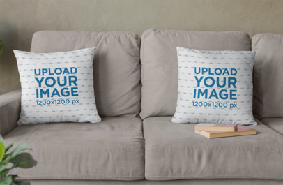 Mockup of Two Squared Pillows Placed over a Couch 29010