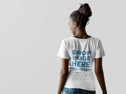 Back Shot of a Woman Wearing a V-Neck Tshirt Mockup Facing a Transparent Backdrop 9838