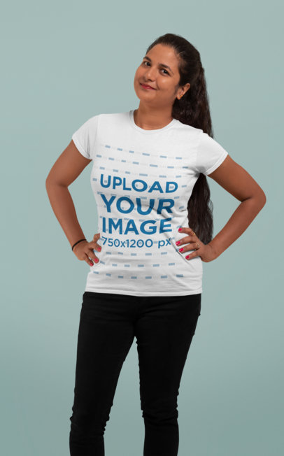 T-Shirt Mockup of a Woman in a Studio 28937