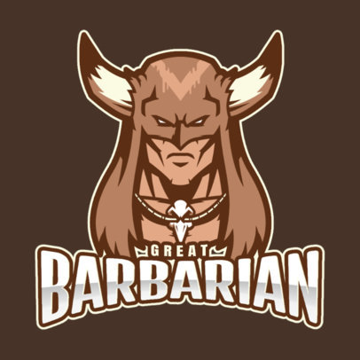 Gaming Logo Template Featuring a Barbarian 2499cc