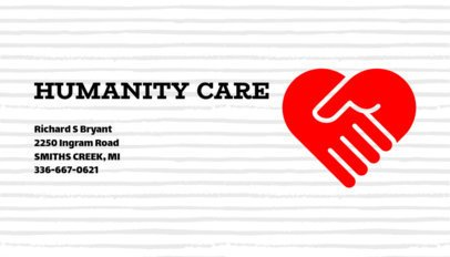 Business Card Template for a Charity with Heart Symbol 336d-1903