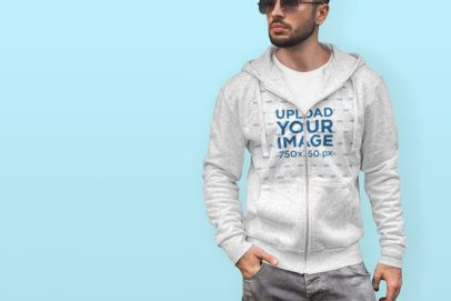 Mockup of a Trendy Man Wearing a Heathered Hoodie in a Colored Background 443-el