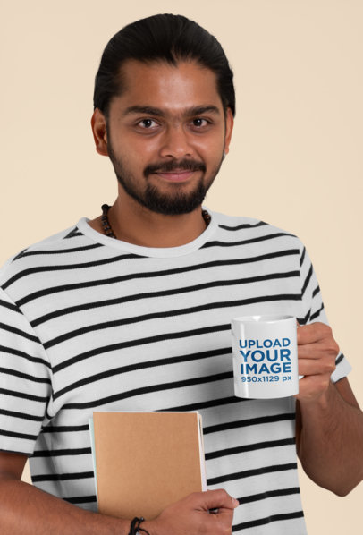 Mockup Featuring a Bearded Man Holding an 11 oz Coffee Mug Against a Customizable Background 29096