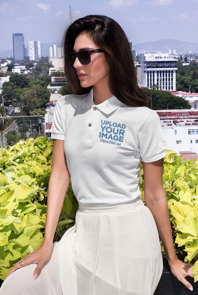 Embroidered Polo Shirt Mockup Featuring a Woman at a Balcony with a City View 28901