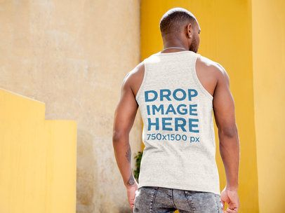 Black Dude Wearing a Tank Top Mockup Standing Outdoors a9336b