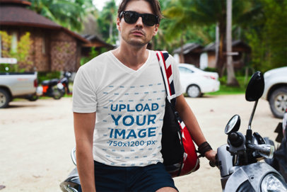 V-Neck T-Shirt Mockup Featuring a Man with Sunglasses on a Motorcycle 511-el