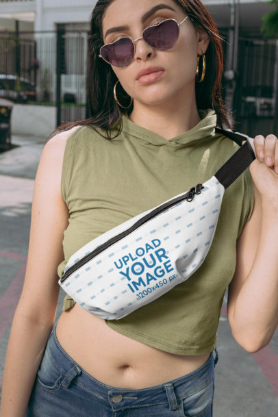 Mockup of a Woman Wearing a Fanny Pack Around Her Chest 29188