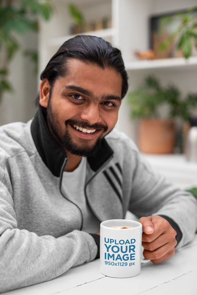 11 oz Mug Mockup Featuring a Smiling Man 29107