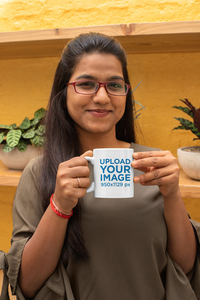 Mockup of a Woman Drinking from an 11 oz Mug 29084