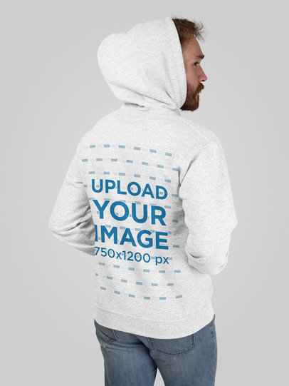 Heather Hoodie Mockup Featuring a Man in the Studio 28748